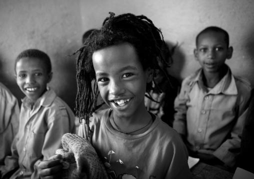 Black And White Photo Of Rasta Kids With Toothy Smile In Shashemene Jamaican School, Oromia Region, Ethiopia