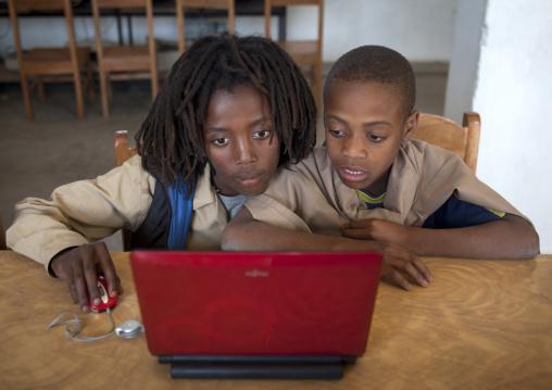 Rasta Kids Working On A Computer In Shashemene Jamaican School, Oromia Region, Ethiopia