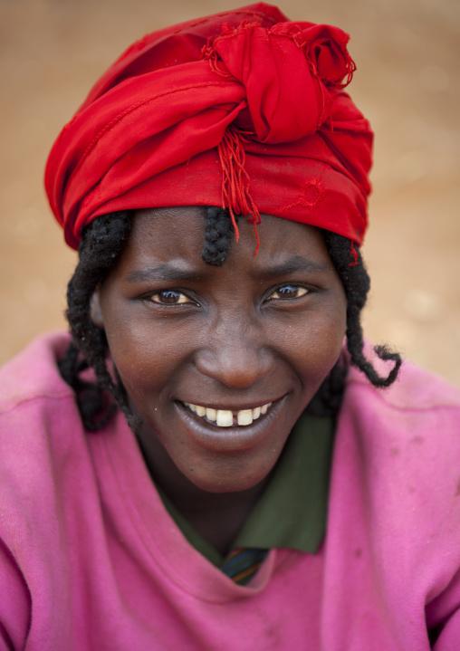 Smiling Red Turban Konso Woman Portrait Ethiopia