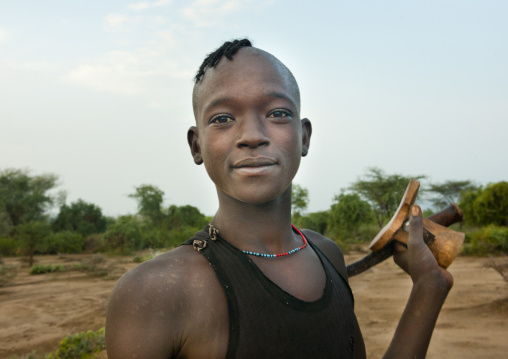 Bana Young Man Carrying Wooden Carved Headrest Omo Valley Ethiopia