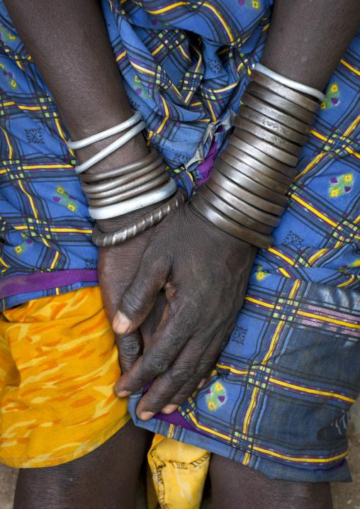 Bracelets On Wrists Of Bodi Woman And Hands Hana Mursi Village Omo Valley Ethiopia