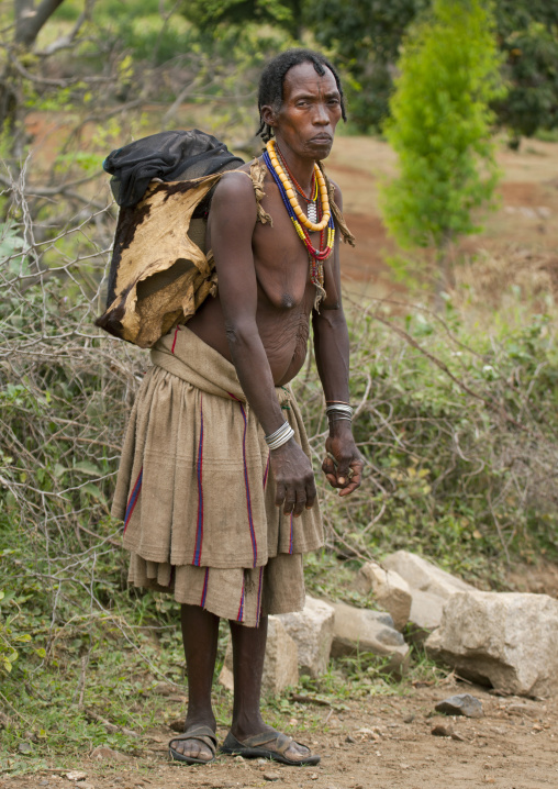 Senior Konso Woman Carrying Load On Her Back Omo Valley Ethiopia