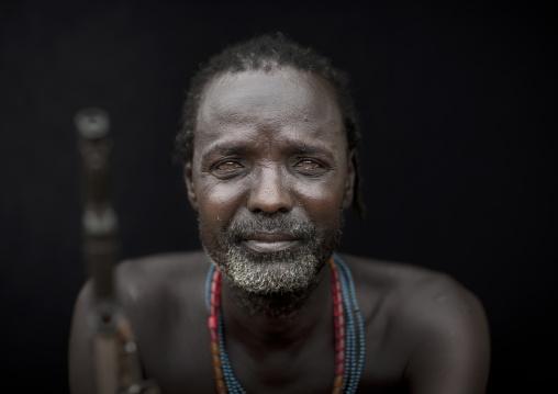Ill Eyed Karo Man Portrait With Kalashnikov Barrel Omo Valley Ethiopia