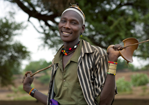 Young Smiling Dassanech Man Head And Shoulders Omorate Ethiopia