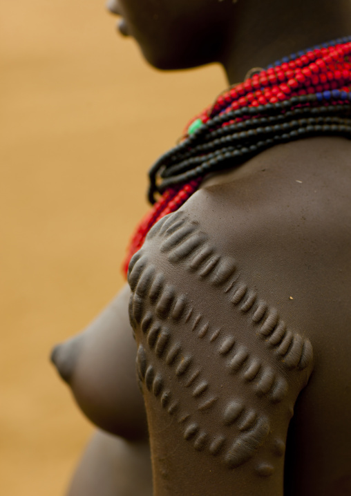 Scarified Shoulder Of Dassanech Young Woman Omorate Ethiopia