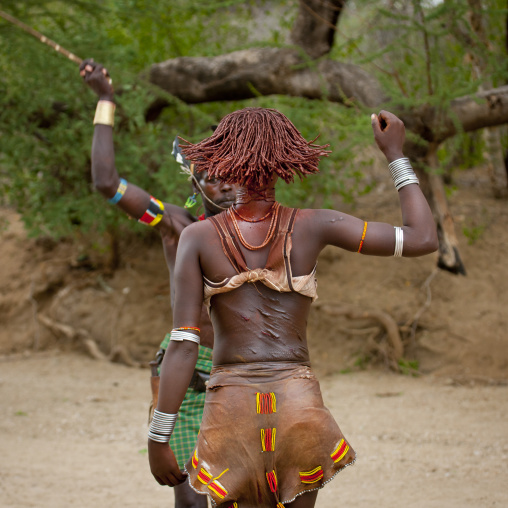 Scarified Hamer Woman Ochred Back Flogged During Bull Jump Ceremony Ethiopia