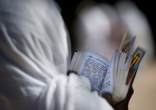 Rear view of an orthodox woman praying with a bible in church, Harar, Ethiopia