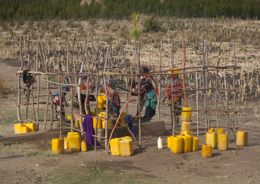 Women Pumping At Water Well In Dire Dawa, Ethiopia