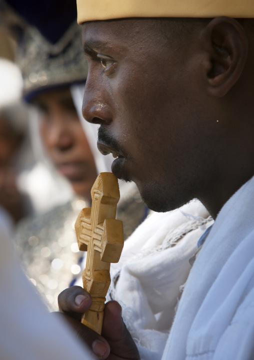 Portrait of a priest during an Ethiopian wedding in an orthodox church, Zway, Ethiopia