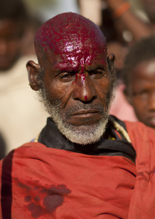 Portrait Of Former Karrayyu Tribe Leader With Cow Blood On His Head In Sign Of Abdication During Gadaaa Ceremony, Metahara, Ethiopia