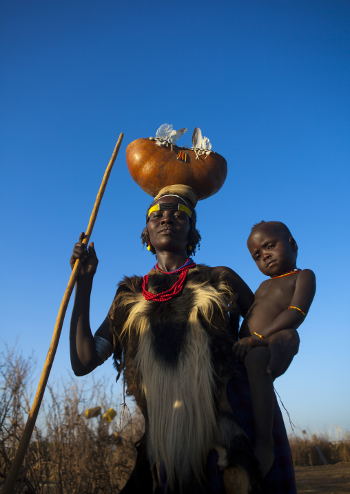 Dassanech Tribe Mother And Baby, Omorate, Omo Valley, Ethiopia