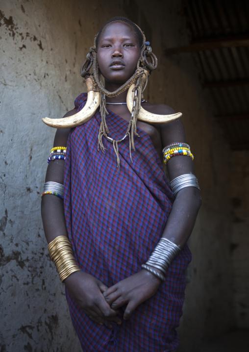 Miss Gnakaman Ailu, Mursi Tribe, Hail Wuha Village, Omo Valley, Ethiopia