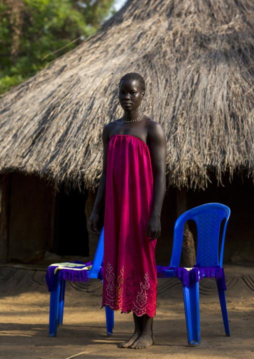 Anuak Tribe Girl In Abobo, The Former Anuak King Village, Gambela Region, Ethiopia