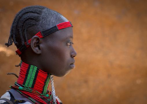 Hamer Tribe Girl In Traditional Outfit, Dimeka, Omo Valley, Ethiopia