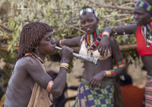 Bashada Tribe During A Bull Jumping Ceremony, Dimeka, Omo Valley, Ethiopia