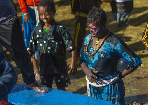 Holy Water Sprayed Onto The Crowd Attending Timkat Celebrations Of Epiphany, Lalibela, Ethiopia