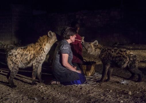 The Hyena Man Of Harar And Tourist Feed Raw Meat To Wild Hyenas, Harar, Ethiopia