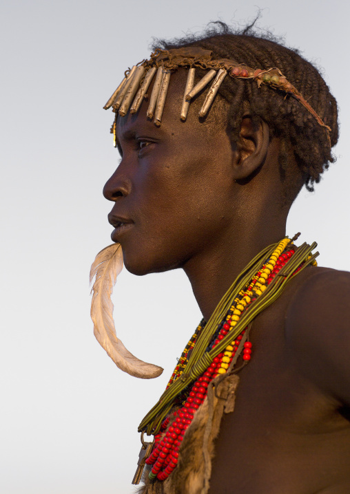 Dassanech Tribe Woman With A Feather In The Chin, Omorate, Omo Valley, Ethiopia