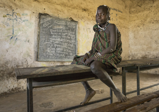 Mursi Tribe Girl In A Classroom, Hail Wuha Village, Ethiopia