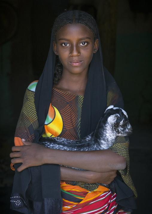 Fatouma Mahammed, Afar Girl Tribe With A Kid Goat, Afambo, Ethiopia