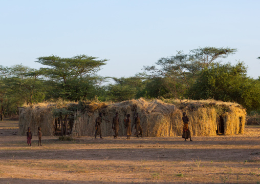 Circumcision house for the boys in dassanech tribe, Omo valley, Omorate, Ethiopia