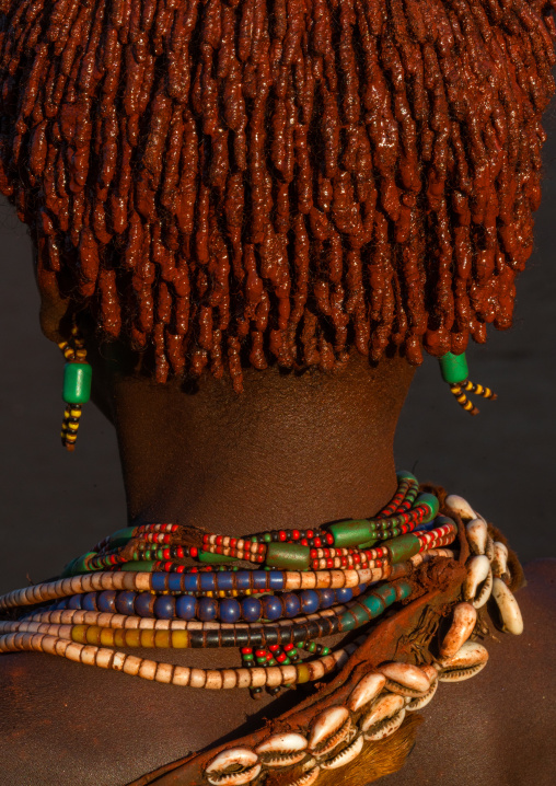 Close up of the back head of a hamer tribe girl, Omo valley, Turmi, Ethiopia