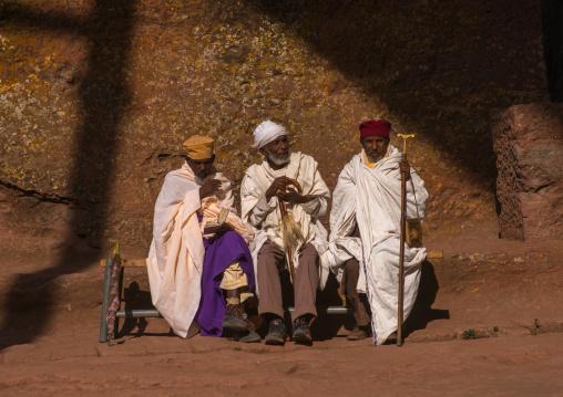 Ethiopian priests during kidane mehret orthodox celebration, Amhara region, Lalibela, Ethiopia