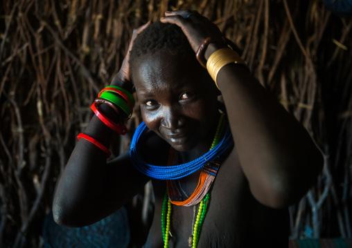 Toposa tribe woman with scarified face, Omo valley, Kangate, Ethiopia
