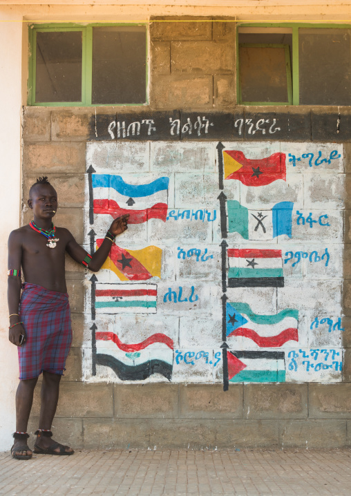 Hamer tribe teenager in a school in front of a painted wall with the regions flags of ethiopa, Omo valley, Turmi, Ethiopia