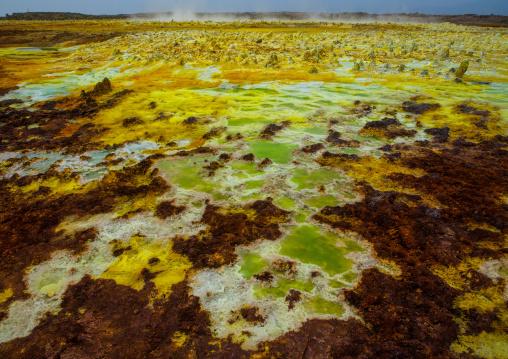 The colorful volcanic landscape of dallol in the danakil depression, Afar region, Dallol, Ethiopia
