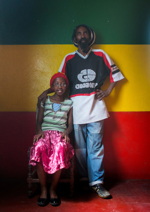 Rastafari girl called kizzy with her father, Oromo, Shashamane, Ethiopia