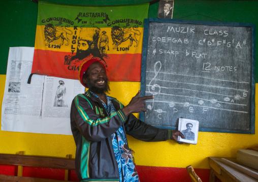 Rastafari man in a music school, Oromo, Shashamane, Ethiopia