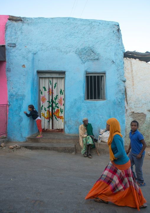 People walking in the streets of the old town, Harari region, Harar, Ethiopia