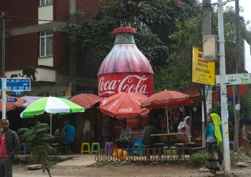 Giant coca cola bottle in a cafe, Addis abeba region, Addis ababa, Ethiopia