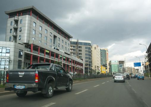 Street scene showing traffic and modern buildings, Addis abeba region, Addis ababa, Ethiopia
