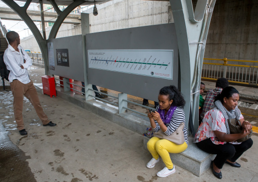 People waiting for the ethiopian railways constructed by china, Addis abeba region, Addis ababa, Ethiopia