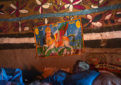 Ethiopia, Kembata, Alaba Kuito, ethiopian traditional house decorated with al buraq wined horse poster