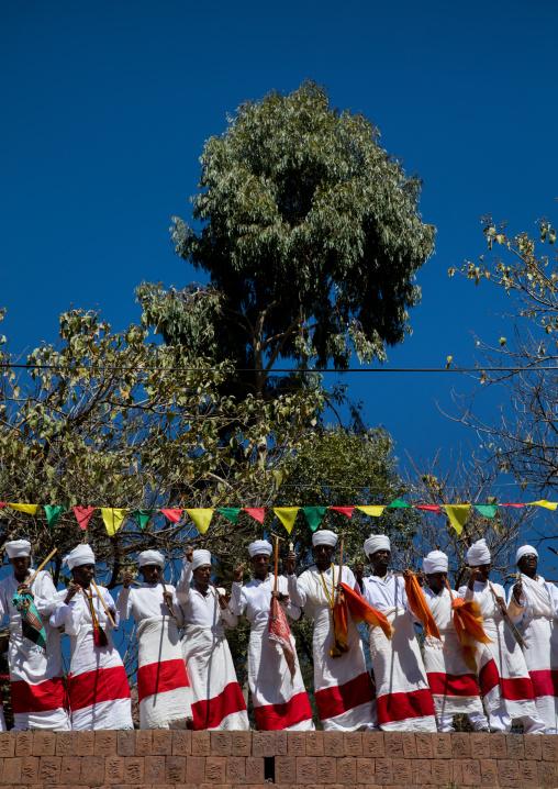 Ethiopian orthodox priests in line celebrating the colorful Timkat epiphany festival, Amhara region, Lalibela, Ethiopia