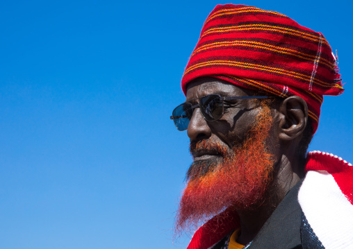 Portrait of a Borana tribe elder with a red beard during the Gada system ceremony, Oromia, Yabelo, Ethiopia