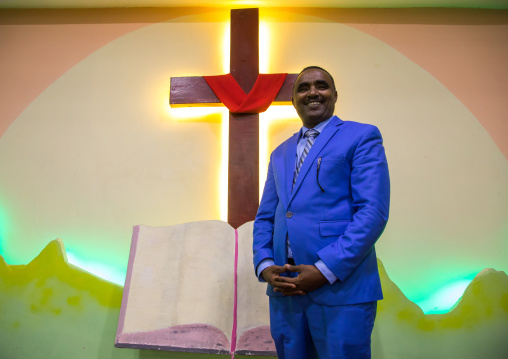 Pastor Kalab Atlabachew in gospel church, Addis Ababa region, Addis Ababa, Ethiopia