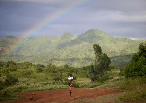 Rainbow in the mountain, Turgit village, Omo valley, Ethiopia