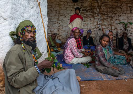 Oromo pilgrims chewing khat in their camp in Sheikh Hussein shrine, Oromia, Sheik Hussein, Ethiopia