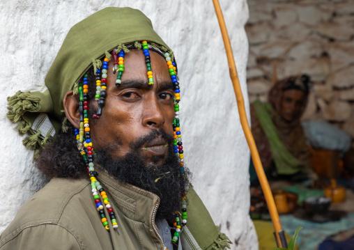 Oromo pilgrim chewing khat in Sheikh Hussein shrine, Oromia, Sheik Hussein, Ethiopia