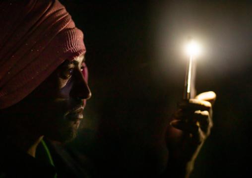 Oromo pilgrims in the night in Sheikh Hussein shrine, Oromia, Sheik Hussein, Ethiopia