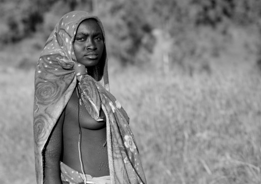 Veiled Surma Teenager, Turgit Village, Omo Valley, Ethiopia