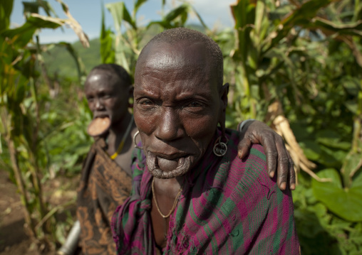 Old Surma Woman With The Lip Stretched, Turgit Village, Omo Valley, Ethiopia