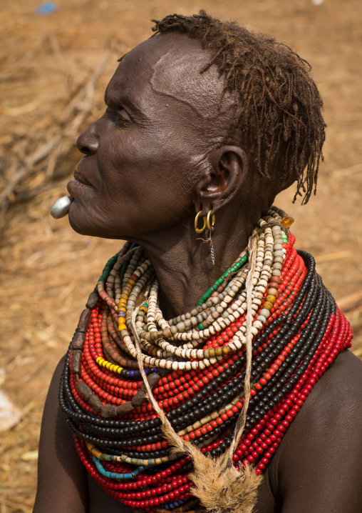 Portrait of an old Nyangatom tribe woman in a village with a chin decoration, Omo Valley, Kangate, Ethiopia