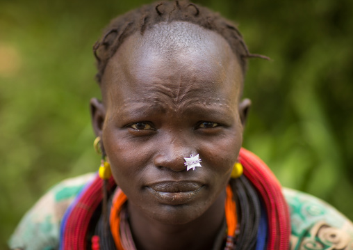 Portrait of a sudanese Toposa tribe woman refugee with nose decoration and scarifications, Omo Valley, Kangate, Ethiopia
