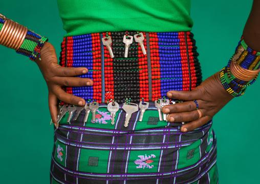 Hamer tribe woman beaded belt with keys, Omo valley, Dimeka, Ethiopia