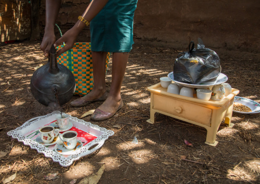 Woman serving coffee in a Gurage traditional house, Gurage Zone, Butajira, Ethiopia